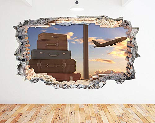 WYHXYZ Wall Stickers Airplane Suitcase Travel Sun Smashed Decal 3D Art Vinyl Room N900