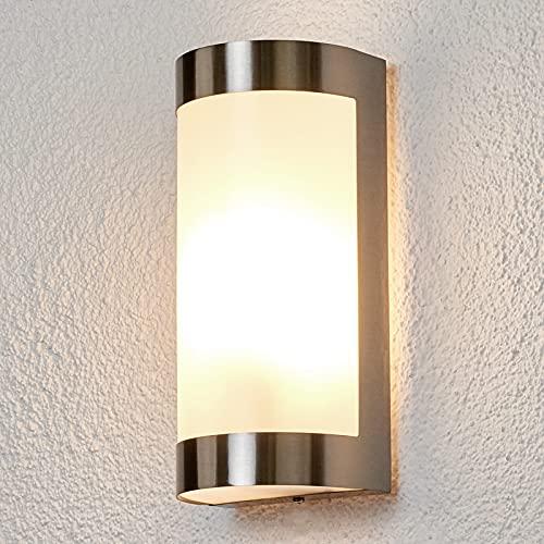 Lindby Edelstahl Wandlampe aussen IP 44 | Wandleuchte aussen silber | Außenbeleuchtung Wand, Hof, Garten, Terrasse, Balkon | Aussenleuchte Wand