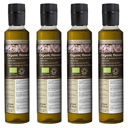 Naissance Aceite culinario de Linaza Virgen BIO – 1 Litro (4x250ml) - Convive, certificado ecológico y 100% puro.