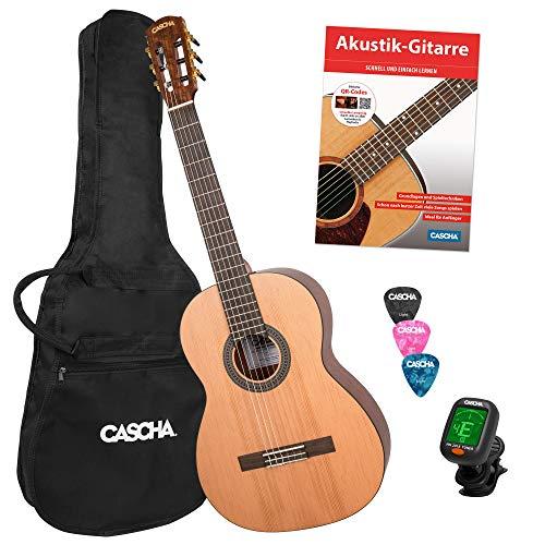 CASCHA 4/4 Konzert-Gitarre Einsteiger-Set I inkl. Lehrbuch QR-Codes - Tasche - Stimmgerät - Plektren I für Anfänger & Kinder ab 10 Jahre - ideal zum Gitarre lernen I Akustik-Gitarre mit Nylon-Saiten