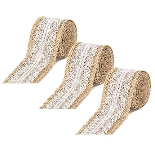 LxwSin Juteband mit Spitze Spitzenband,3 Rolle 1 Meter Juteband mit Spitze Weiß, Vintage Spitzenband Jute Band, für DIY Handwerk Weihnachten Deko Hochzeit Party Dekoration Wohnkultur