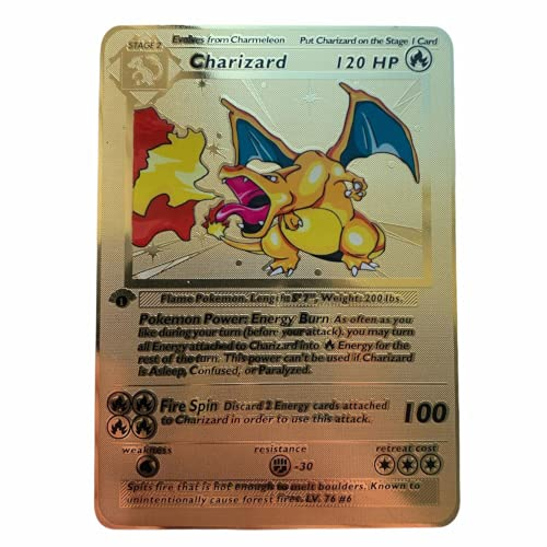Pokémon Charizard 1ère édition Carte en métal doré à collectionner 4/102