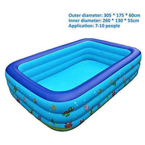 Family Opblaasbare Zwembaden, Een Standaardmaat Easy Set Kiddie Zwembaden Met Pomp En Patch Kit, Voor Kinderen, Volwassenen, Baby's, Peuters(Geschikt Voor Maximaal 10 Personen),3layers 305X183X60CM
