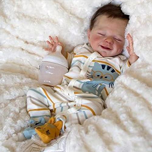 JUYHTY Realistic Reborn Baby Dolls Niño Durmiendo 19 Pulgadas Peso Recién Nacido Silicona Baby Dolls Muñecas Realistas para Regalos para Niños Mayores De 3 Años,Boy