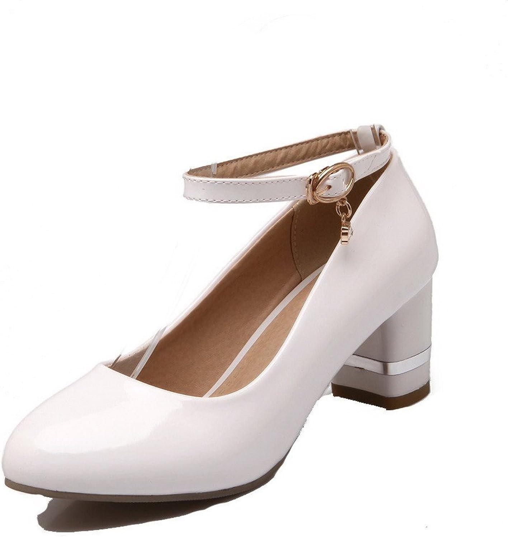 AllhqFashion Women's Buckle Kitten-Heels Solid Pumps-shoes