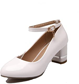 VogueZone009 Women's Buckle Round-Toe Kitten-Heels PU Solid Pumps-Shoes