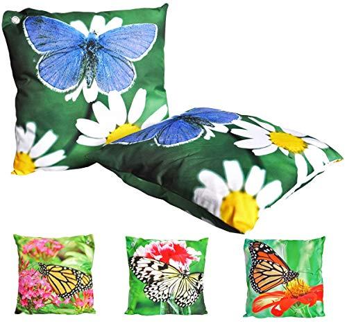 JACK Outdoor Lounge Kissen 45x45cm Motiv Dekokissen Schmetterling Wasserfest Sitzkissen Garten Stuhl Schmetterlinge, Farbe:Blau