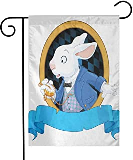 Zmstroy Mini Flag, Alice in Wonderland, Rabbit with Pocket Watch Design Amazing Alice Fantasy World, Holiday Decoration, 12.5 x 18 Inch, Blue White Golden