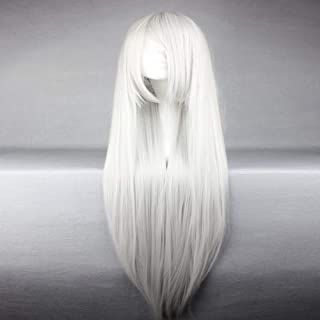 american style synthetic vocaloid haku silvery white long straight cosplay wig Halloween