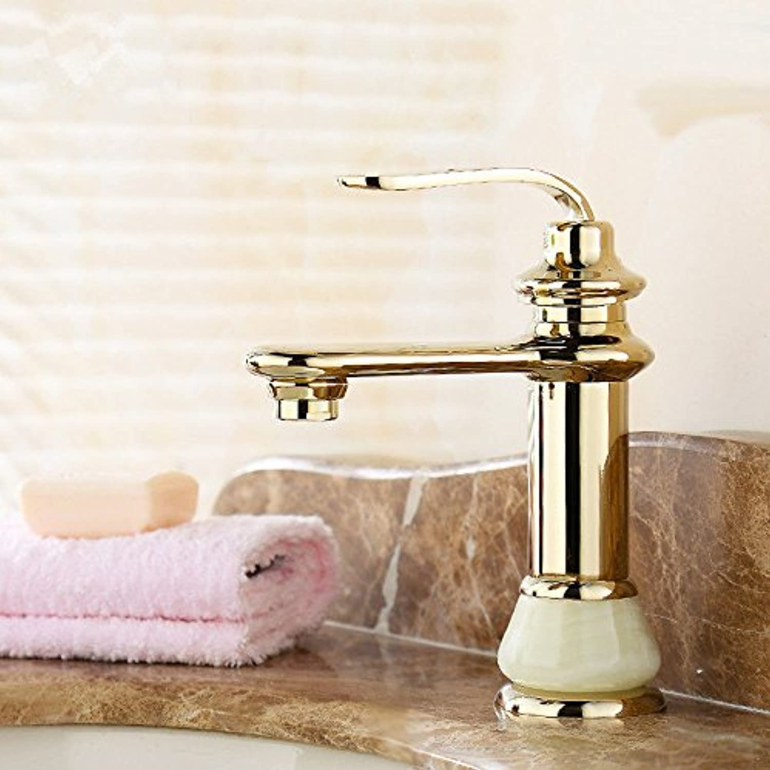 Lalaky Taps Faucet Kitchen Mixer Sink Waterfall Bathroom Mixer Basin Mixer Tap for Kitchen Bathroom and Washroom Copper Antique Hot and Cold Vintage gold