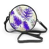 Wrution - Bolsa de hombro de piel suave con diseño de hojas tropicales, estampado de frutas de la pasión con estampado de frutas y flores cruzadas