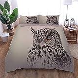 AOUAURO Bettwäsche 155x220 Eule Bettbezug Set 3D 3-Teiliges Polyester mit Reißverschluss 1 Bettbezug und 2 Kissenbezug 80x80cm 3 Stück