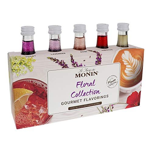 Monin - Gourmet Flavorings Floral Collection, Great for Cocktails, Lemonades, Teas, & Sodas, Gluten-Free, Dairy-Free, Vegan (Violet, Lavender, Rose, Hibiscus, & Elderflower) | 50 ml Per Bottle