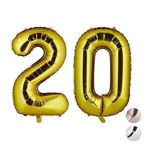Relaxdays Folienballon 20, Deko für Geburtstag, Jubiläum, Hochzeitstag, 85-100 cm, XXL Zahlen Luftballon, Gold, H x B x T: ca. 85 x 50 x 17 cm