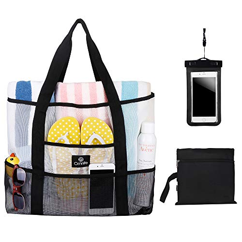 Omnife Oversize Mesh Beach Bag Combo, Pool Tote Bag, Gym Bag, Grocery Picnic Utility Bag, with Additional Portable Zip Bag and a Free Waterproof Cell Phone Case