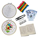 Embroiderymaterial Beginners Kit Hand Embroidery Tutorial DIY Kit with 6 Different Types of Embroidery Stitches (7 Items)