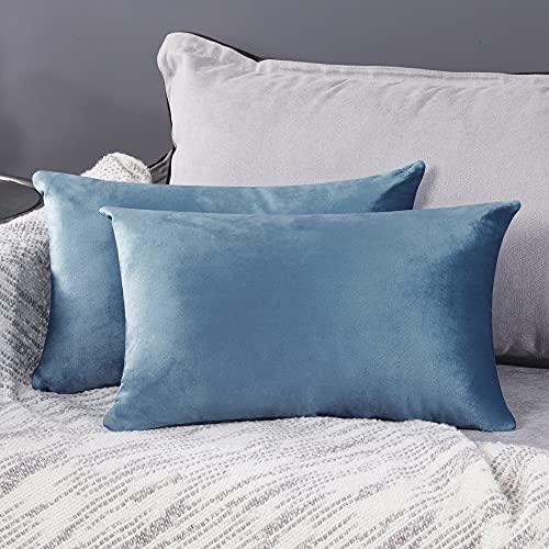 Deconovo Fundas para Cojines de Almohada del Sofá Cubierta Suave Decorativa Protector para Hogar 2 Piezas 30 x 50 cm Azul Gris