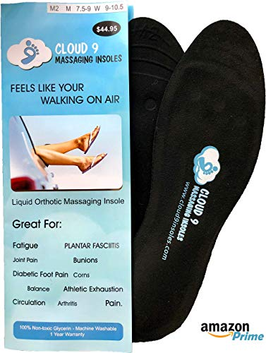 Cloud9 Dynamic Liquid Massaging Orthotic Insoles   Best Shoe Inserts   Arch Support & Foot Pain Relief   Premium Glycerin Filled Insert   Absorbs Shock (S - Men 5-6.5   Women Size 7.5-8