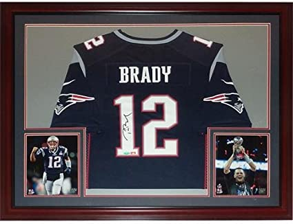 Tom Brady Autographed New England Patriots (Blue #12 Nike) Deluxe ...
