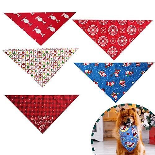 5 bavaglini triangolari per animali domestici, per Natale, cane/bandana, bandana natalizia, per animali domestici, foulard per cani di taglia piccola, media (A)