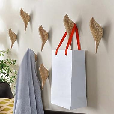 YOHEE 3D Creative Wall Decoration Bird Mural Bedroom Door Hooks Coat Hooks Single Hooks Wall Hanger (Wood)