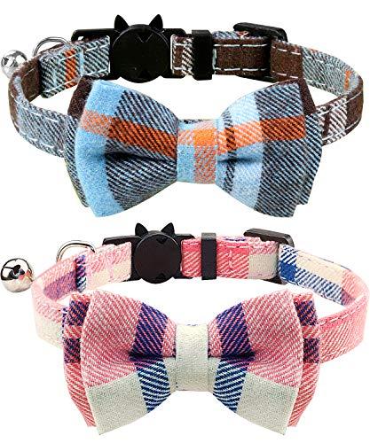 Joytale Collar para Gato con Pajarita & Cascabel, Collares Cierre Seguridad para Gatos, Neblina Azul + Rosa
