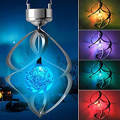 JOBOSI Solar Rotating Wind Chime lamp LED Colour Changing Hanging Wind Light Glowing Wind Chimes Outdoor Decor mom Gifts Thanksgiving Gift Grandma GiftsS Hook Wind Chimes Wind Chimes Gifts