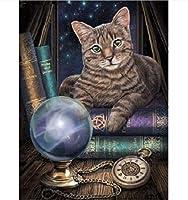 5Dダイヤモンド塗装キット、猫の動物、大人の子供のためのダイヤモンド絵画アート、家の壁の装飾のためのキャンバスパターンクロスステッチ刺繡工芸品40X50CM