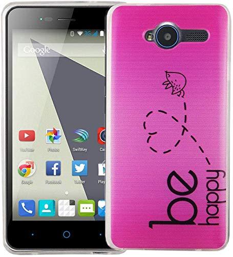 König Design Handy-Hülle kompatibel mit ZTE Blade L3 Silikon Case Hülle Sturzsichere Back-Cover Handyhülle - Be Happy Design Pink