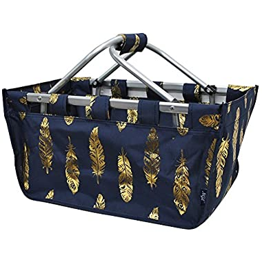 NGIL Gold Feather Navy Canvas Shopping, Market, Picnic Basket