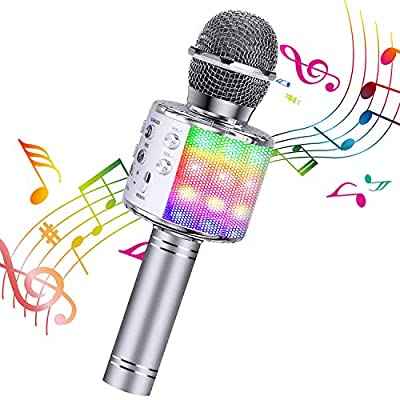 Karaoke Microphone, ShinePick 4 in 1 Wireless Bluetooth Microphone, Dancing LED Lights Portable Speaker Karaoke Machine, Home KTV with Record Function, Compatible with Android iOS Devices (Silver)