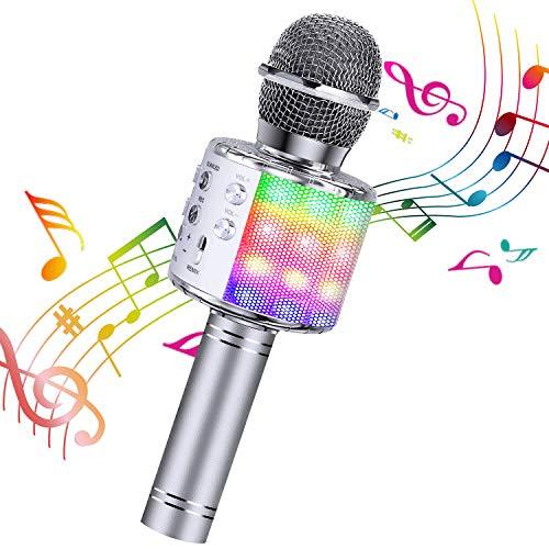 ShinePick Micrófono Karaoke Bluetooth, Microfono Inalámbrico Karaoke Portátil con Altavoz para Niños Canta Partido Musica, Compatible con Android/iOS PC, AUX o Teléfono Inteligente (Plata)