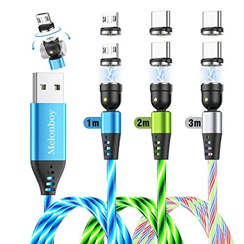 Melonboy Cavo Magnetico con Luce Fluente LED (1m+1m+2m), Caricatore Cavo USB Magnetico in Nylon con Rotazione di 360° e 180°, 3 in 1 Cavo di Ricarica Magnetico compatibile con tipo C, Micro USB