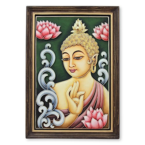 NOVICA Buddha Reigns in Peace Marble Dust Relief Panel
