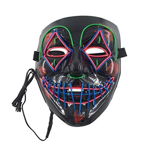 TOPCOMWW Halloween Masker Led Light Up Masker Clown Cosplay Kostuum Glow In Dark Party Masker Gloeiende Maskers Cosplay Kostuum benodigdheden