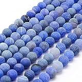 Perlas de piedras preciosas de 6 mm, 8 mm, 10 mm, ágata esmerilada, redonda, piedra natural esmerilada, perlas semipreciosas, (azul, 6 mm – 18 unidades)