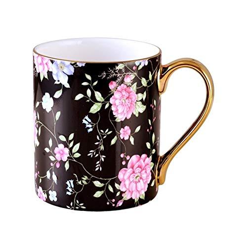 JISHIYU - Taza de café de cerámica Q para té, taza de café, diseño de flores europeas, taza de café de cerámica moderna, regalo para fiesta de té, tamaño 12,2 x 9,2 cm, capacidad 400 ml