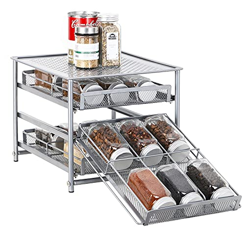 Organizador de especias para gabinete, 3 niveles 18 botellas de almacenamiento de especias para despensa de cocina, mostrador, metal, marrón