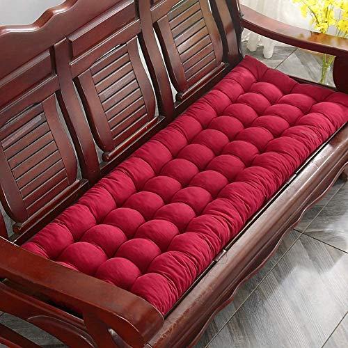 Cojín de banco de jardín, cojín de tumbona, respaldo alto, antideslizante, cojín de asiento de banco de madera, colchón de repuesto para interior y exterior, columpio de patio, color rojo, 55 x 170 cm