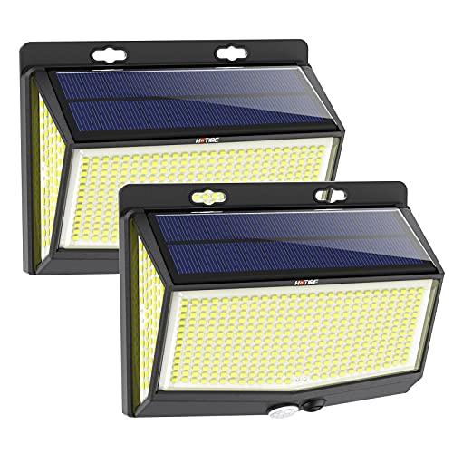 Luce Solare Led Esterno, 468 LED 3500 Lumen Lampada Solare Esterno Più Luminosa, 270° Luci Solare con Sensore di Movimento, 3 Modalità di Luminosità, Luce Solare Impermeabile per Giardino (2 pezzi)