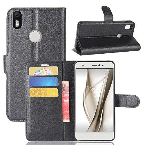 Guran® Funda de Cuero PU para BQ Aquaris X/X Pro Smartphone Función de Soporte con Ranura para Tarjetas Flip Case Cover Caso-Negro