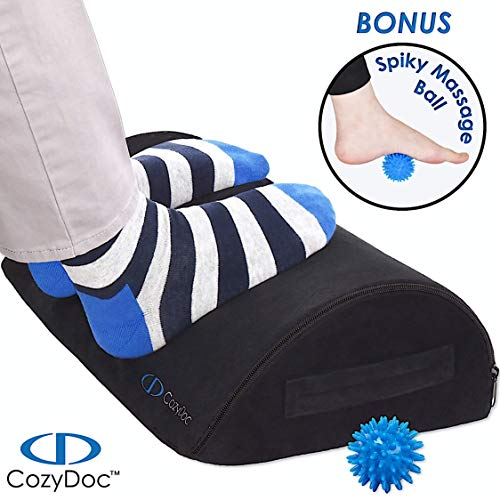 COZYDOC Ergonomic Foot Rest Cushion Under Desk + Massage Ball | The Worlds Most Comfortable Footrest for Home, Office, Travel | Doctor Designed Orthopedic Foam for Feet, Knee, Back Pain ReliefBlack