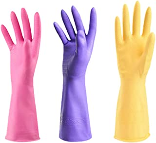 Rubber Gloves Reuseable Kitchen Cleaning Gloves Heat Resisting Non-Slip Soft Cotton Flock Lining Great Kitchen Cleaning Tools Medium 3-Pack(2 Pieces Cotton Flock Lining,1 Piece Rubber Lining, Differe