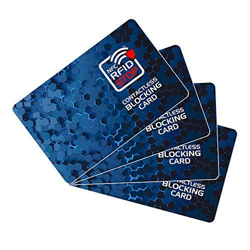 Protector de Tarjetas RFID contactless, Anti NFC Bloqueo - Blocker Card - Tarjeta de Bloqueo de escáner y lectores para billeteras y Pinzas para Billetes - 4 Piezas -