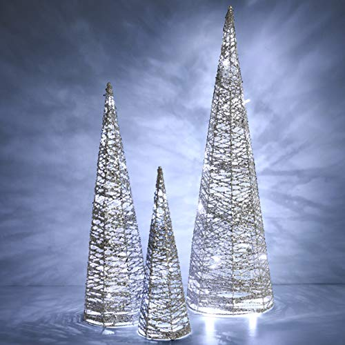 Luxspire Cone Tree Light, Shiny Sequins Sparkle Beautiful Bright Waterproof All-Weather Use Battery Powered Home Décor Christmas Tradition Holiday Brilliant Decorative Light with Time Function, Silver