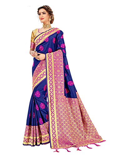 Sarees for Women Banarasi Art Silk l Tradional Indian Wedding Diwali Gift Sari with Unstitched Blouse Navy Blue