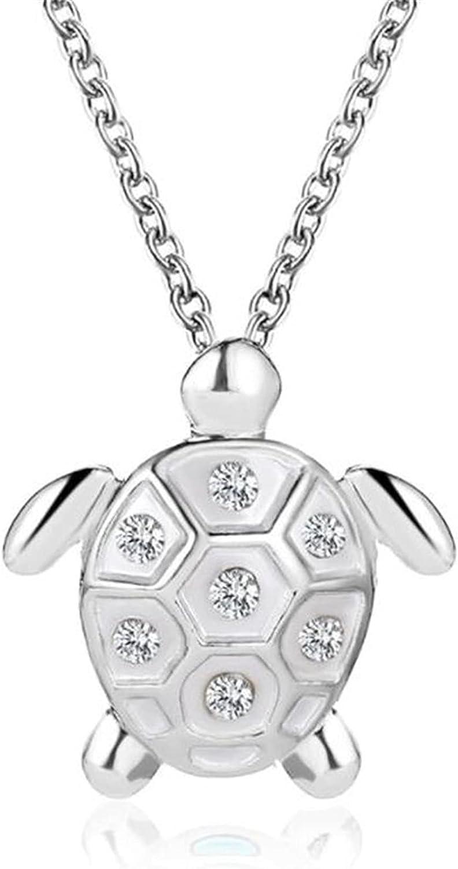 QINQU Cubic Zirconia Sea Turtle Shaped Pendant Necklaces Alloy Charm Necklaces for Women