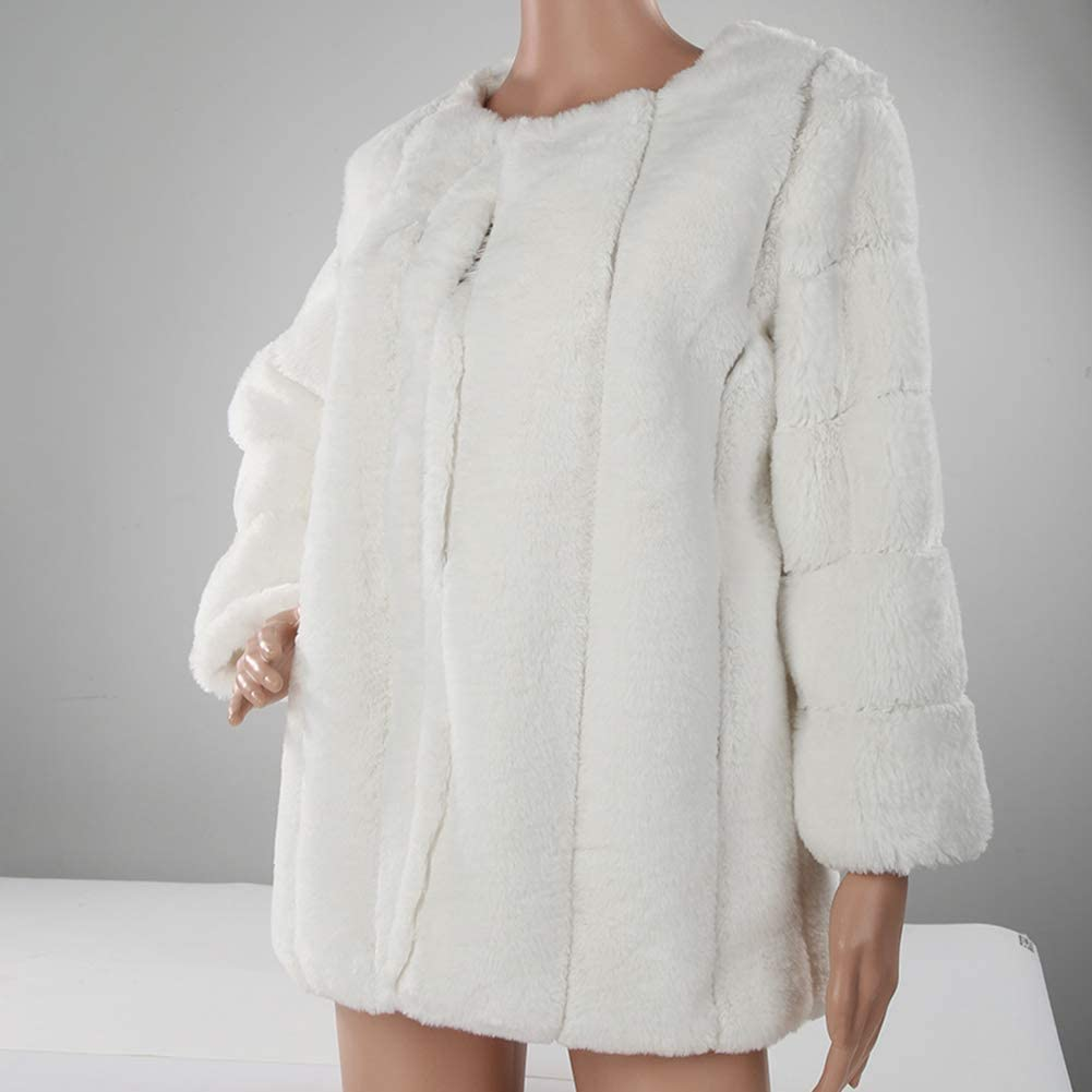 dSNAPoutof Winter Warm Faux Fur Coat, Soft Solid Color Thicken Loose Long Sleeve Trendy Plush Jacket for Woman Girls Party Outerwear Travel Shopping Street Wear White XXXXXL