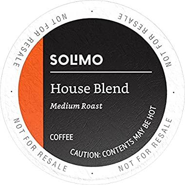 Amazon Brand - 100 Ct. Solimo Medium Roast Coffee Pods, House Blend, Compatible with 2.0 K-Cup Brewers