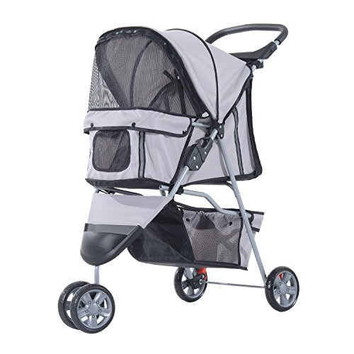 PawHut kinderwagen voor honden, kar voor huisdieren, buggy, grijs 75 x 45 x 97 cm